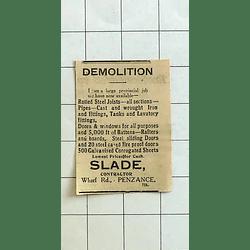 1934 Slade, Contractor, Wharf Road Penzance Has Material After Demolition Job