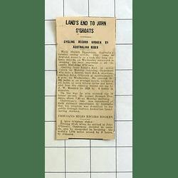 1934 Lands End To John O'groats Cycling Record Broken By Australian, Opperman