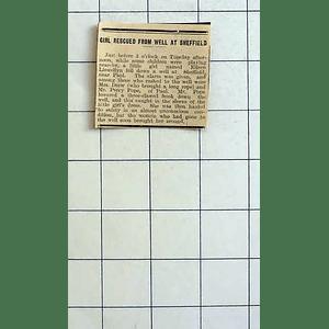 1934 Eileen Llewellyn Rescued From A Well Sheffield Near Paul