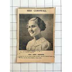 1934 Miss Doris Kneebone Of Camborne Chosen As Miss Cornwall