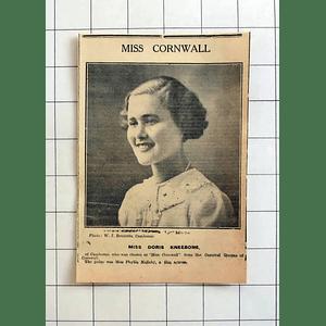 1934 Miss Doris Kneebone Of Camborne Chosen As Miss Cornwall