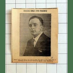 1934 Famous Tenor, Trefor Jones To Sing At Penzance
