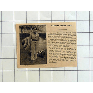 1934 Germany To England Glider Girl, Miss Joan Meakin