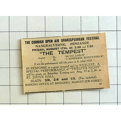 1934 Cornish Open-air Shakespeare Festival, Nancealverne, The Tempest