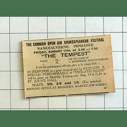 1934 Cornish Open-air Shakespeare Festival, Nancealverne, The Tempest