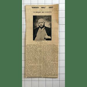 1934 Newspaper World Tribute, Mr Herbert Thomas Cornishman Newspapers