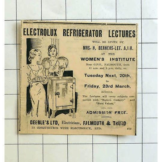 1934 Electrolux Refrigerator Lectures Given By Mrs Berners-lee Deebles Falmouth