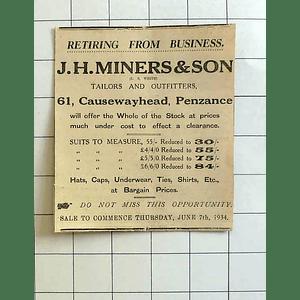 1934 Jh Miners And Son Causewayhead Penzance Retirement Sale