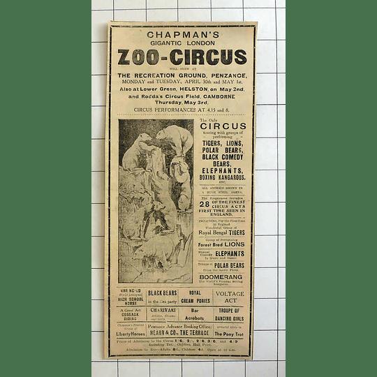 1934 Chapmans Gigantic London Zoo Circus Lions, Tigers, Bears, Kangaroos