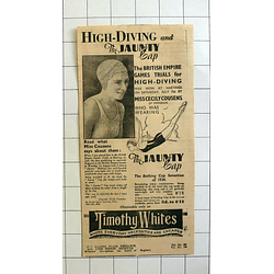 1934 Miss Cecily Cousens Of Swindon Wins Hastings High Diving Jaunty Cap