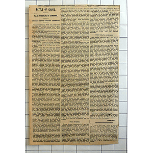 1934 All In Wrestling At Camborne, Gregory Beats Swedish Anaconda