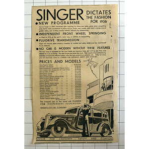 1934 Singer For Certainty Safety And Comfort