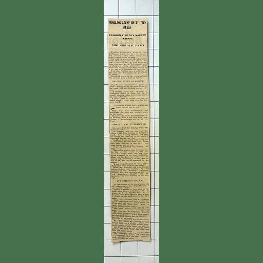 1934 Swindon Man Reg Reynolds Saved By John Care And St Freeman Porthmeor Beach