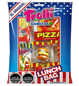 LUNCH BAG 77,5 Gr.  Contiene gomitas en forma de hot dog, hamburguesa, papas fritas, pizza..