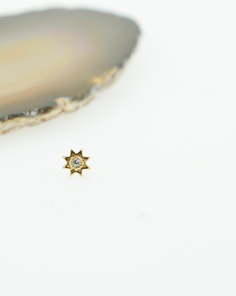 Estrella de ocho puntas con zirconia cristal interior de oro amarillo – Threadless o pin