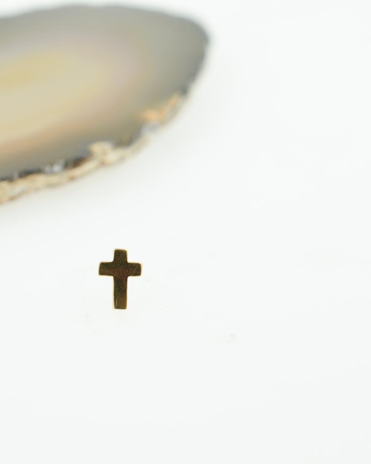Cruz lisa de oro amarillo – Threadless o pin