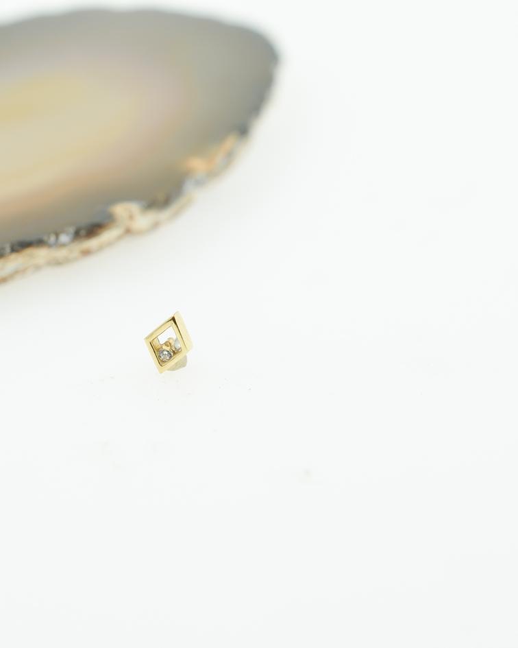 Rombo de oro amarillo con zirconia cristal – Threadless o pin