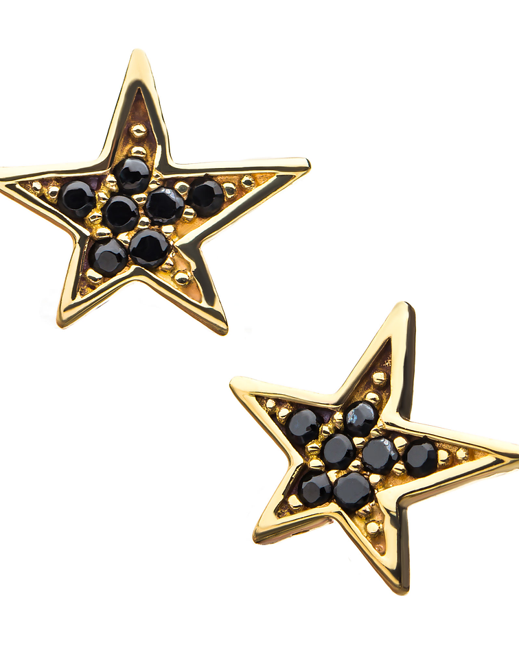 Estrella con zirconia negra interior en oro amarillo – Threadless o pin
