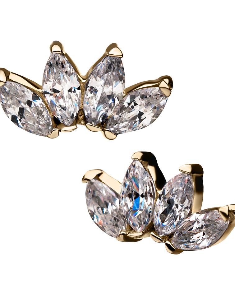 Clúster con 4 zirconias cristal marquesa prong set en oro  – Threadless o pin