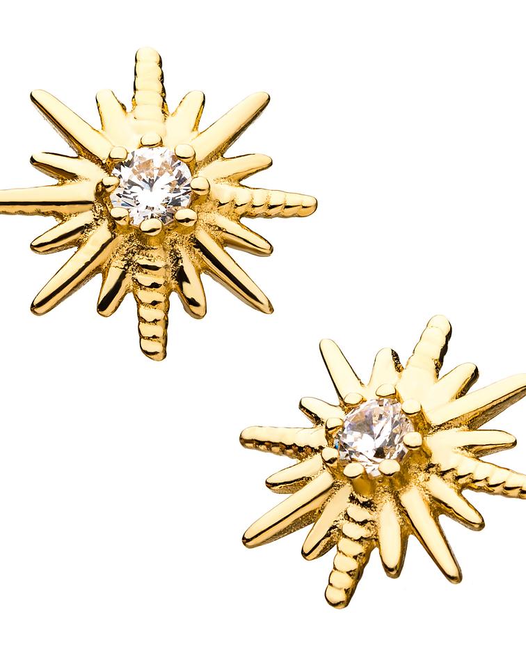 Estrella doble con zirconia cristal en oro amarillo – Threadless o pin