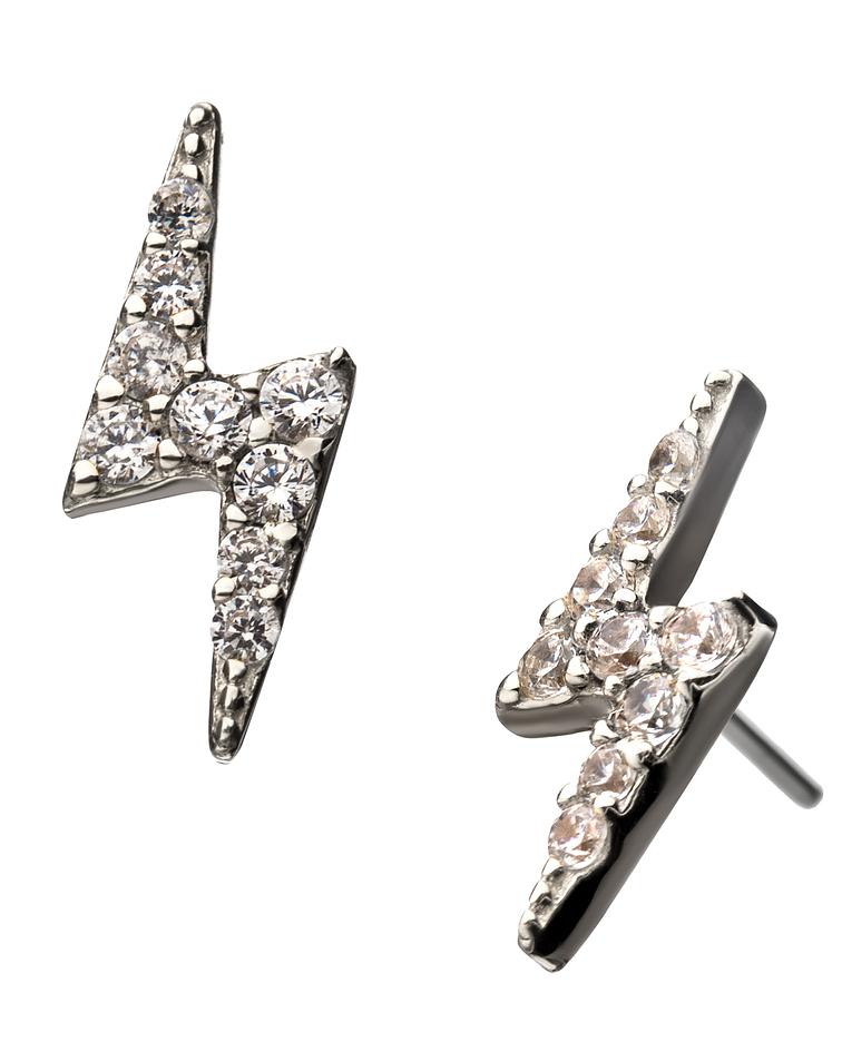 Rayo con zirconia cristal en oro blanco – Threadless o pin