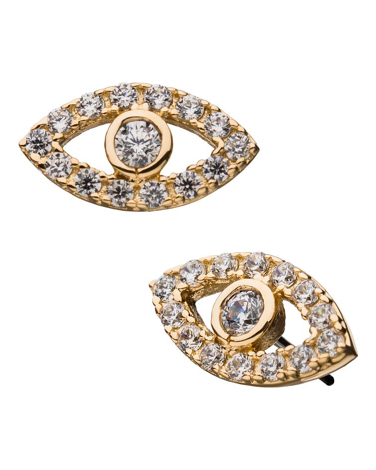 Ojo con zirconias cristal en oro amarillo – Threadless o pin