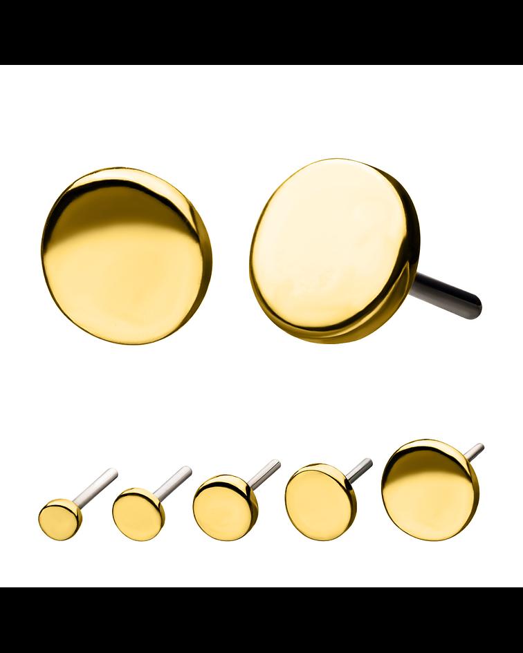 Disco liso en oro  – Threadless o pin