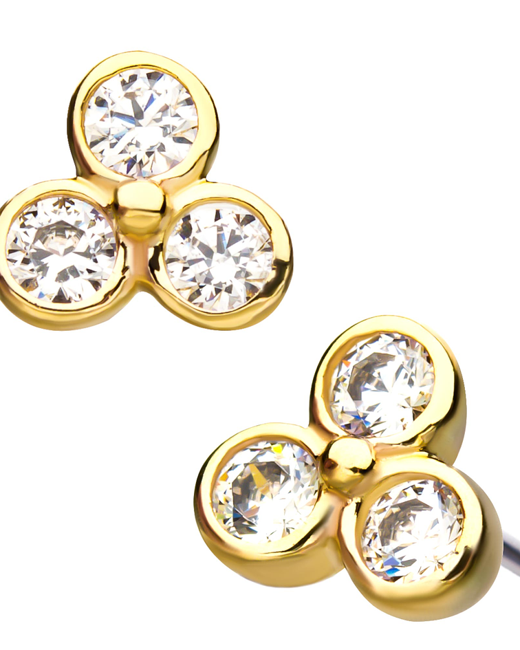 Clúster con triple zirconia cristal bezel set en oro amarillo – Threadless o pin