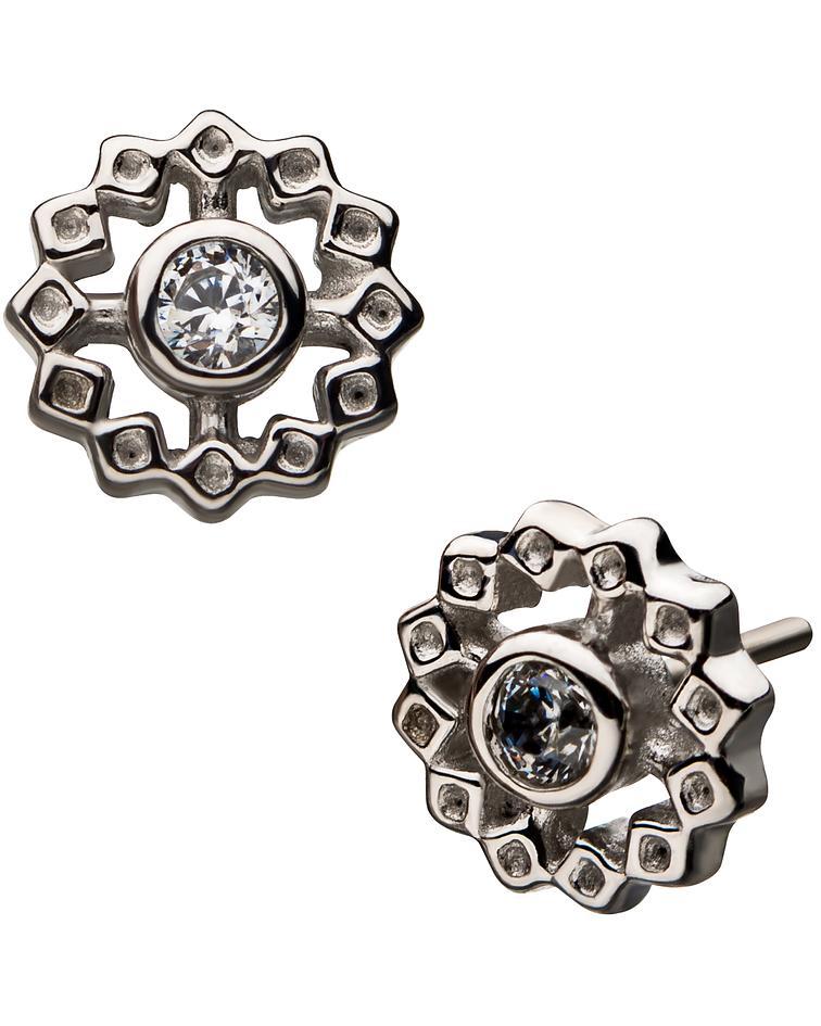 Flor con zirconia cristal interior bezel set en oro blanco - Threadless o pin