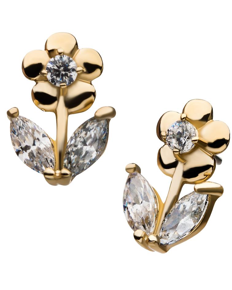 Flor con zirconia cristal interior prong set y hojas zirconia cristal marquesa en oro blanco - Threadless o pin