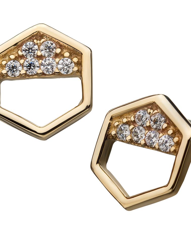 Hexágono con zirconia cristal en diseño interior de oro amarillo - Threadless o pin