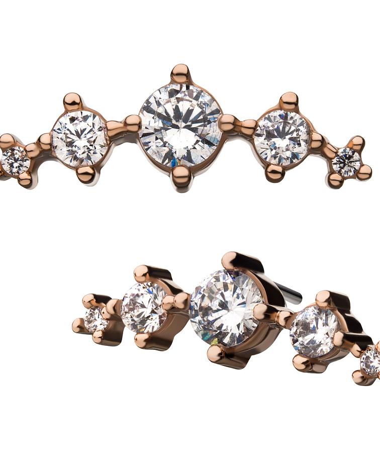 Clúster con 5 zirconias cristal curvo de oro rosa - Threadless o pin