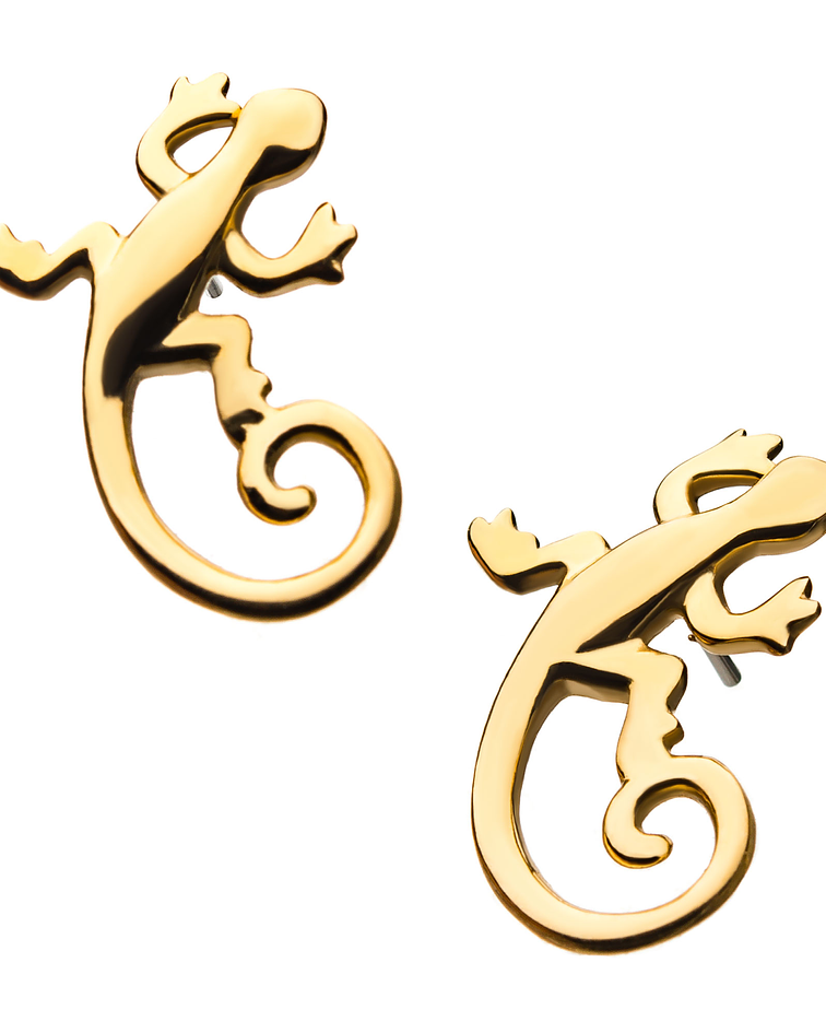 Iguana lisa de oro amarillo - Threadless o pin