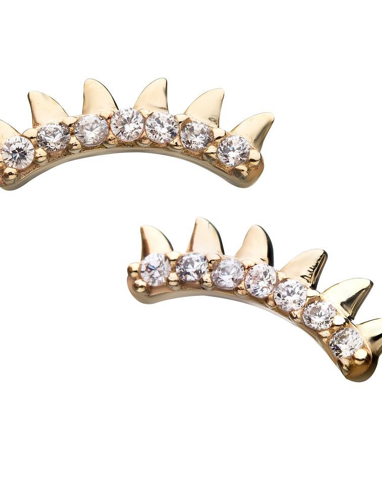 Clúster con zirconia cristal curvo y puntas de oro amarillo - Threadless o pin