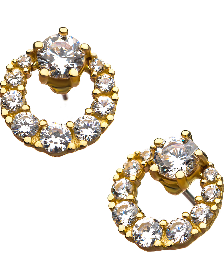Accesorio circular con zirconia cristal prong set en oro amarillo – Threadless o pin