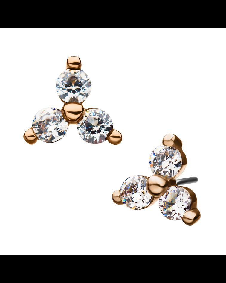 Trinity con zirconias de oro - Threadless o pin