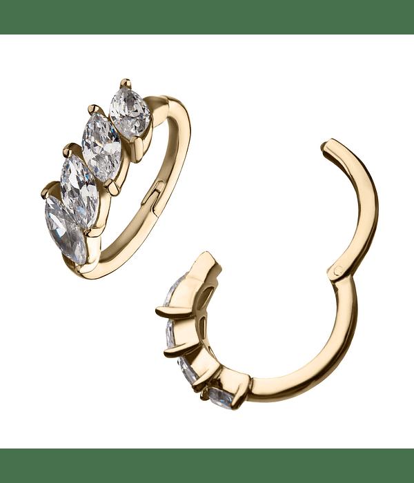 Clicker con 4 zirconias cristal marquesa prong set en oro