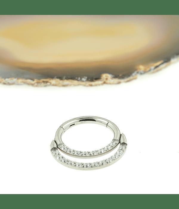 Segment ring con doble línea de zirconias frontal