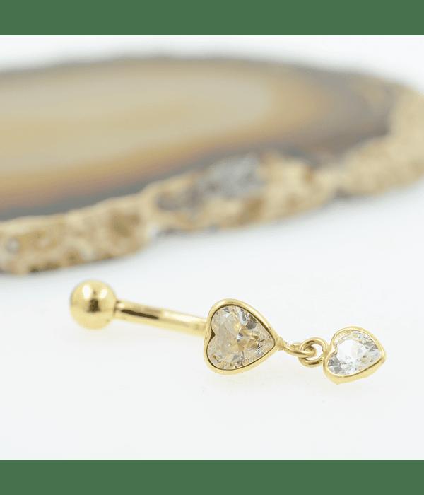 Banana ombligo con doble accesorio corazón y ziconia cristal en oro amarillo