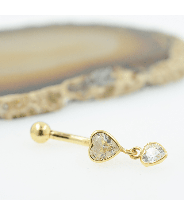 Banana ombligo con doble accesorio corazón y zirconia cristal en oro amarillo