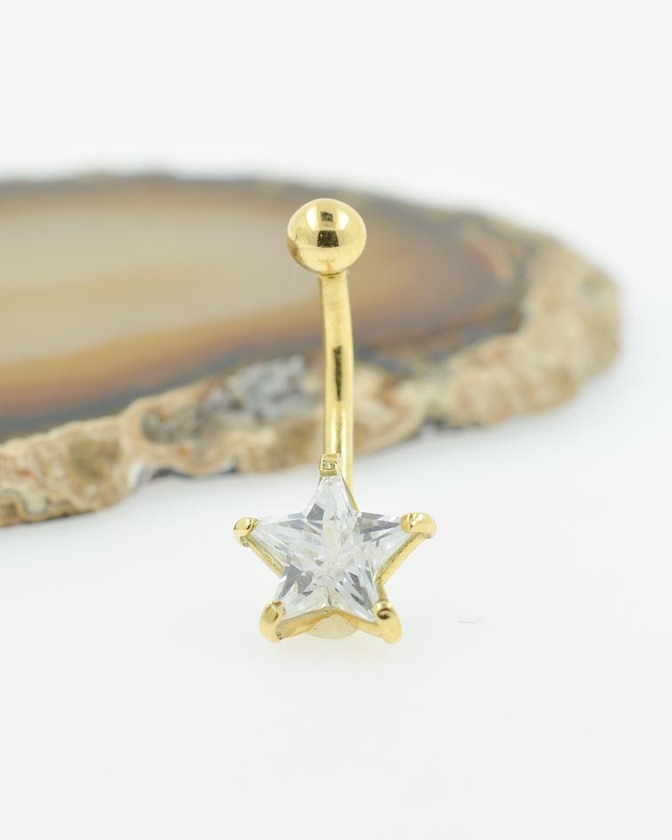 Banana ombligo con accesorio estrella en zirconia cristal prong set en oro amarillo
