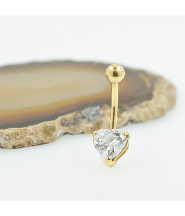 Banana ombligo con accesorio corazón en zirconia cristal y oro amarillo