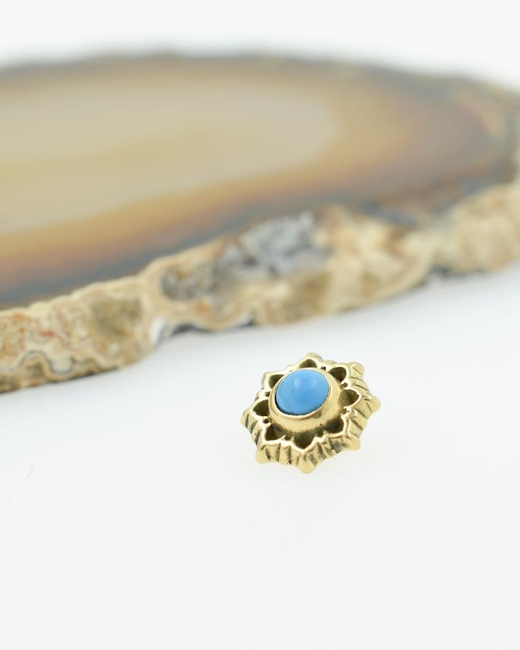 Mandala con turquesa en oro amarillo - 14g