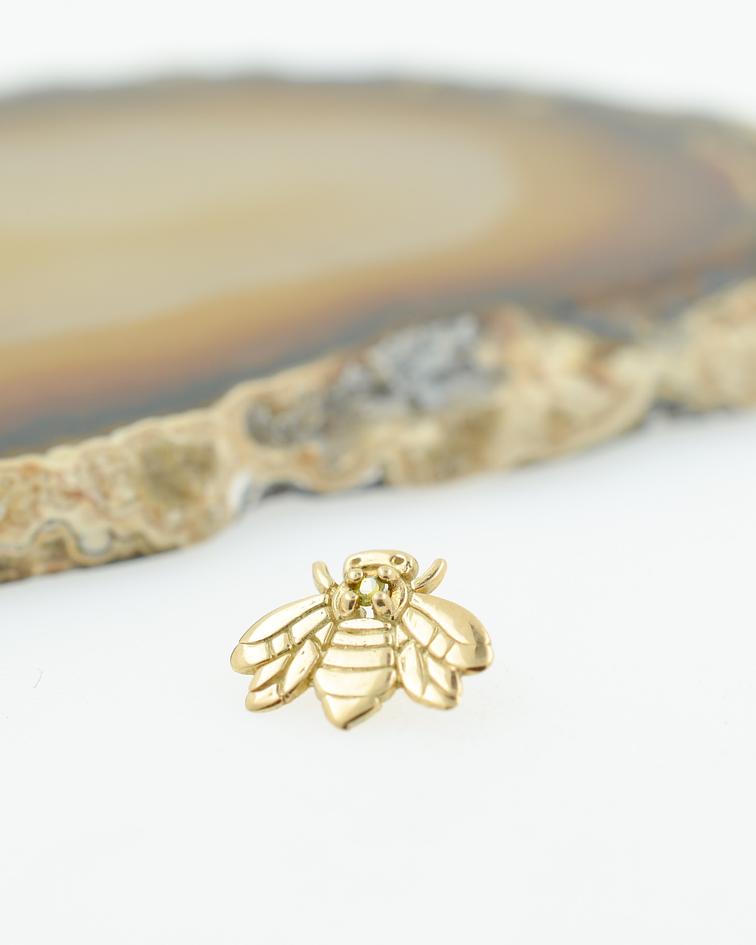 Abeja con zirconia cristal en oro amarillo - 14g