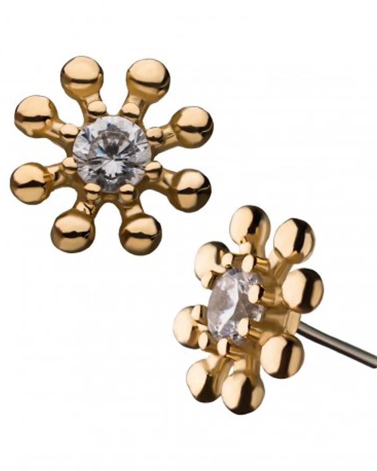 Sol con bolitas y zirconia cristal en el centro en oro amarillo – Threadless o pin