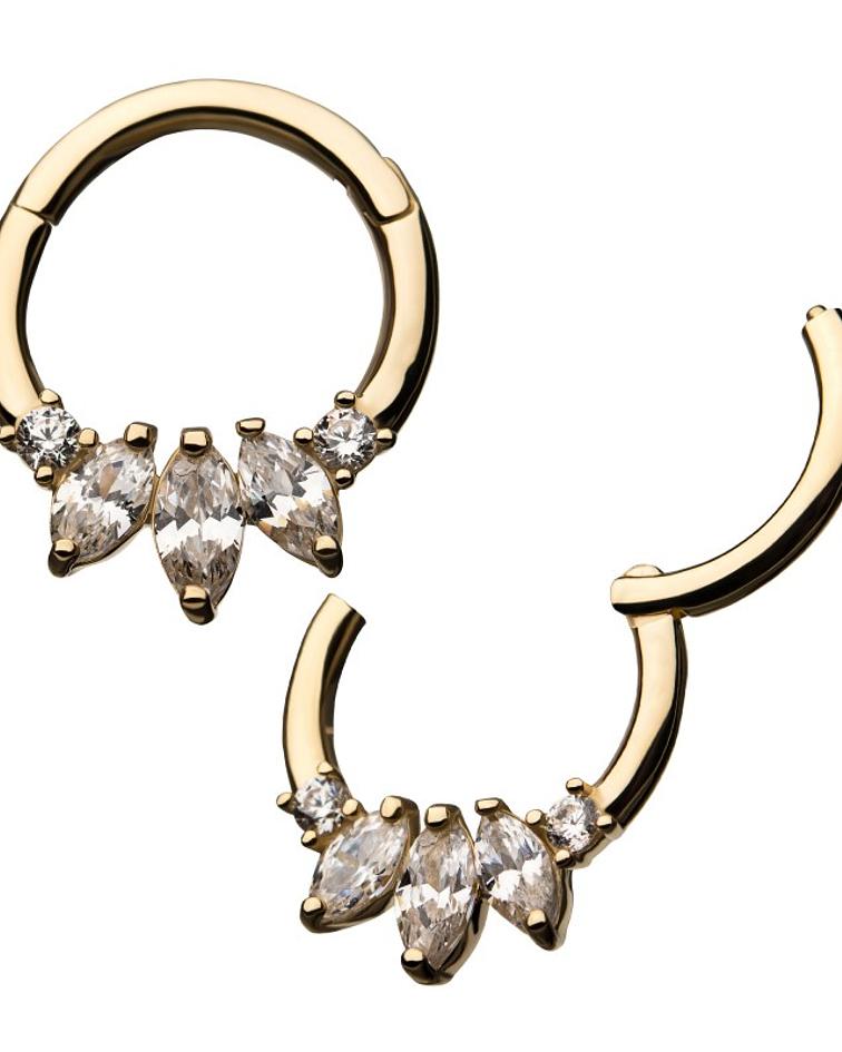 Clicker con zirconia cristal marquesa prong set en oro amarillo
