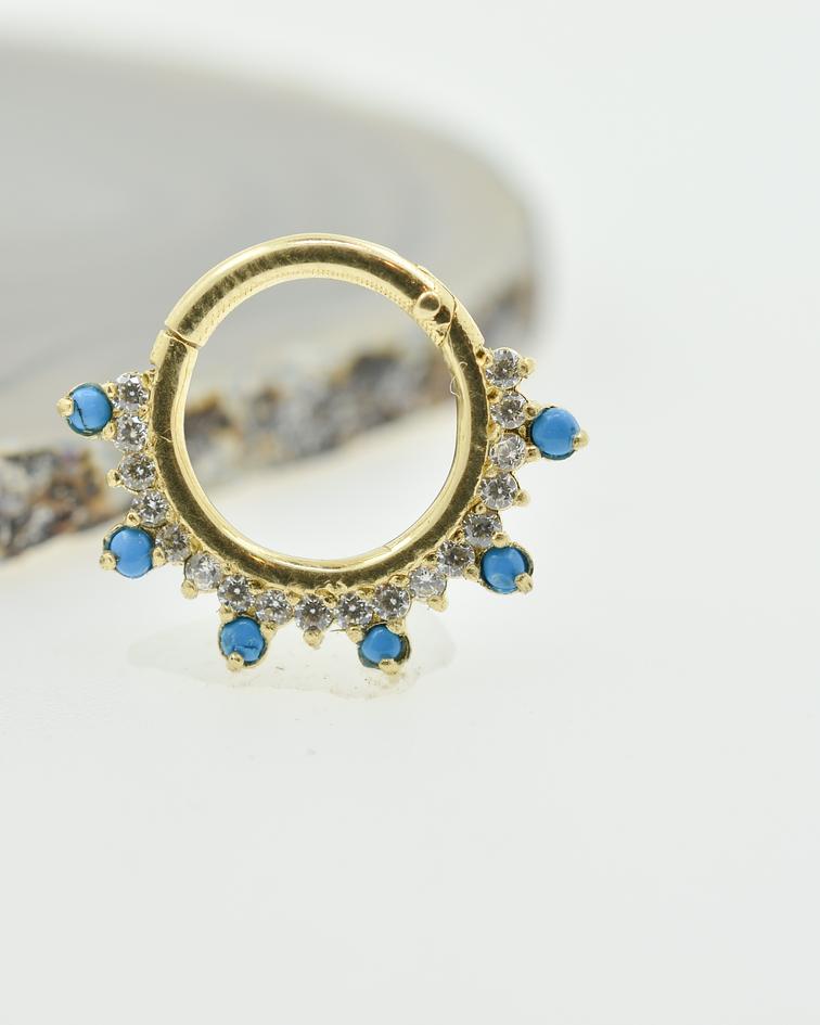 Clicker con zirconia cristal y turquesas en oro amarillo
