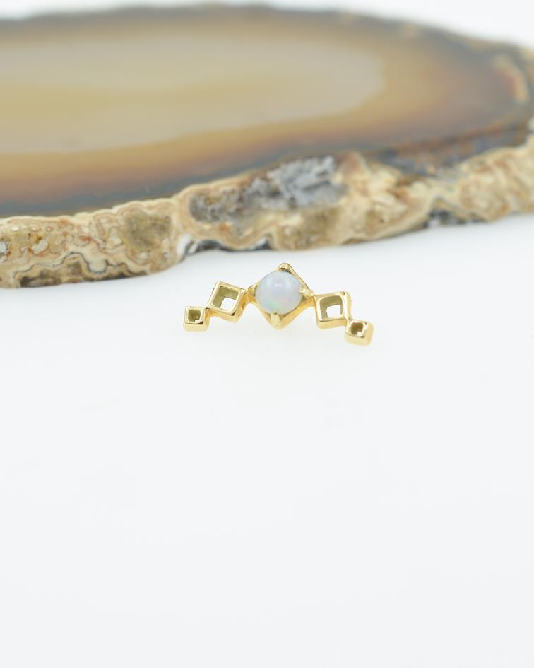 Clúster ópalo y cuadrados en oro amarillo - 14g