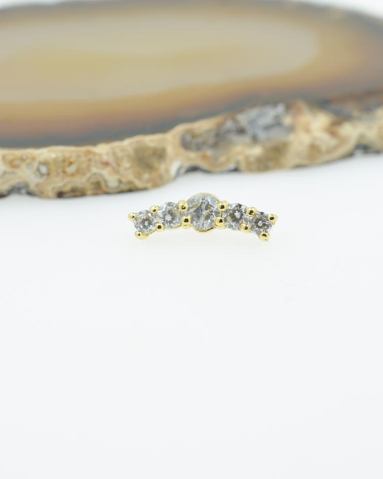 Clúster 6 zirconias cristal en oro amarillo - 14g