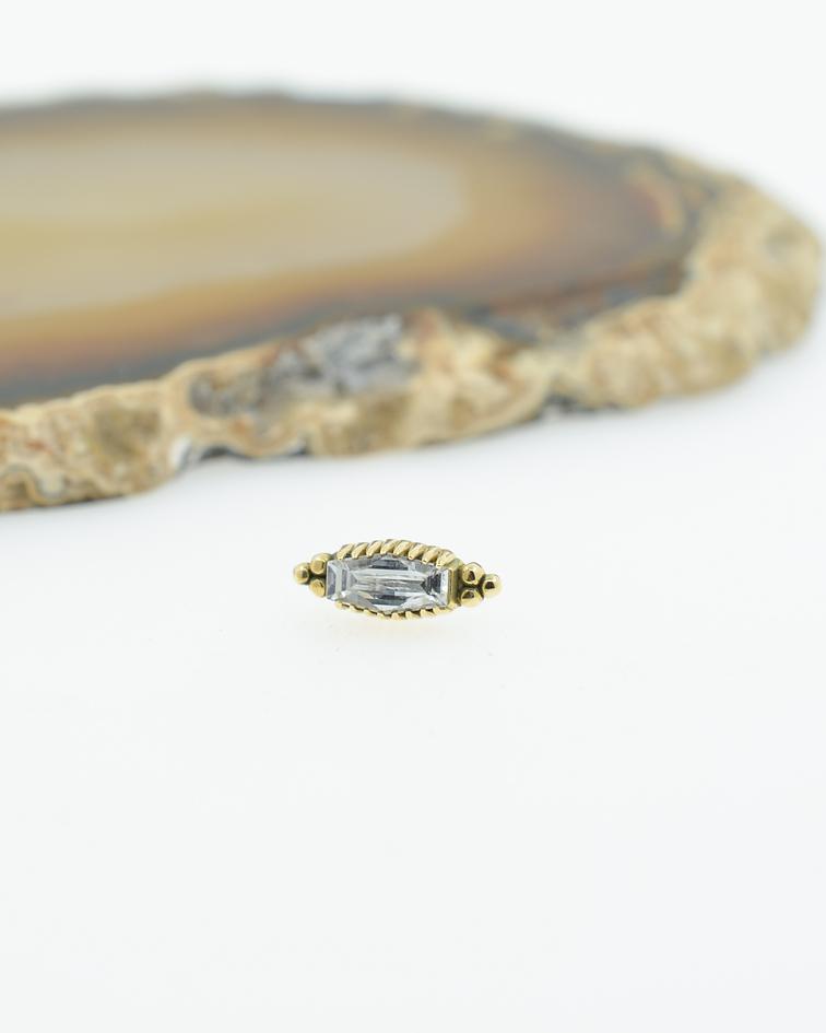 Accesorio ornamental con zirconia cristal y bolitas en oro amarillo - Threadless o pin